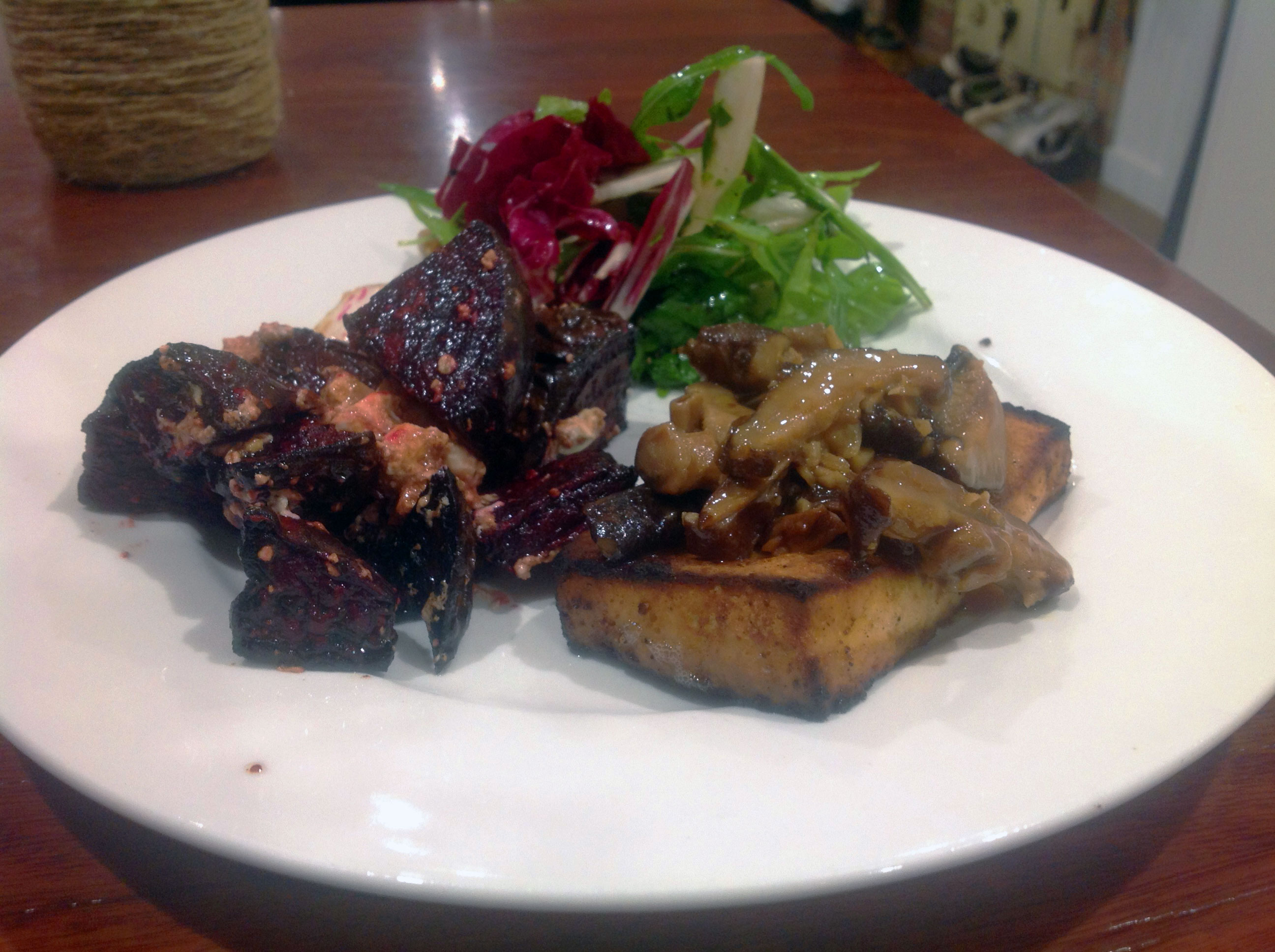 The finished dish, tofu steak with mushroom ragout recipe